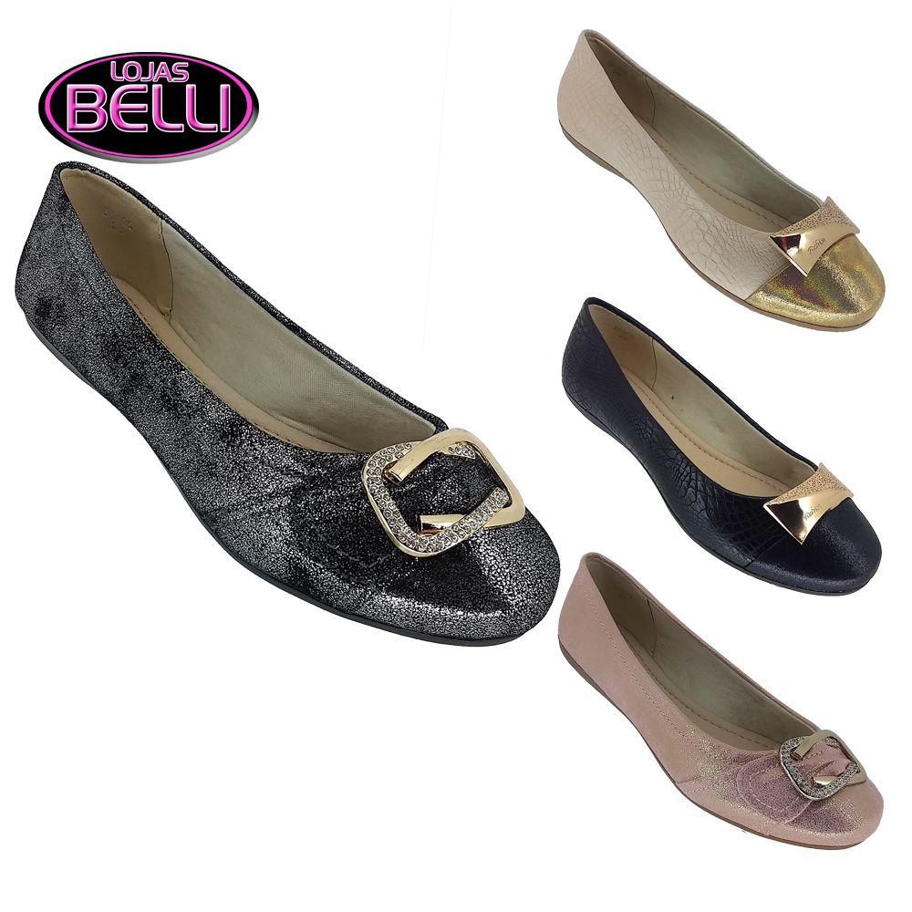 4edce7df36 Sapatilha Feminina Premium Confort Fivela Mooncity X3 Lojas Belli