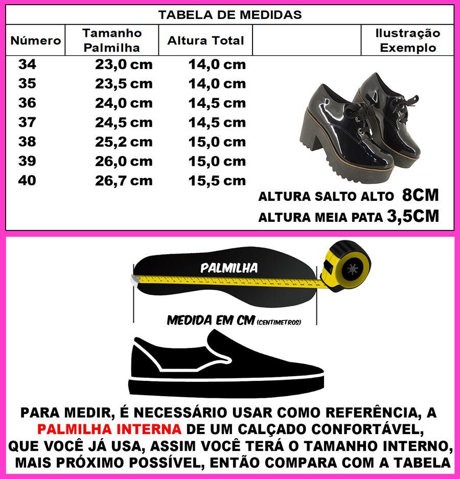 Sapato Feminino Tratorado Confort Plataforma Salto Alto L701