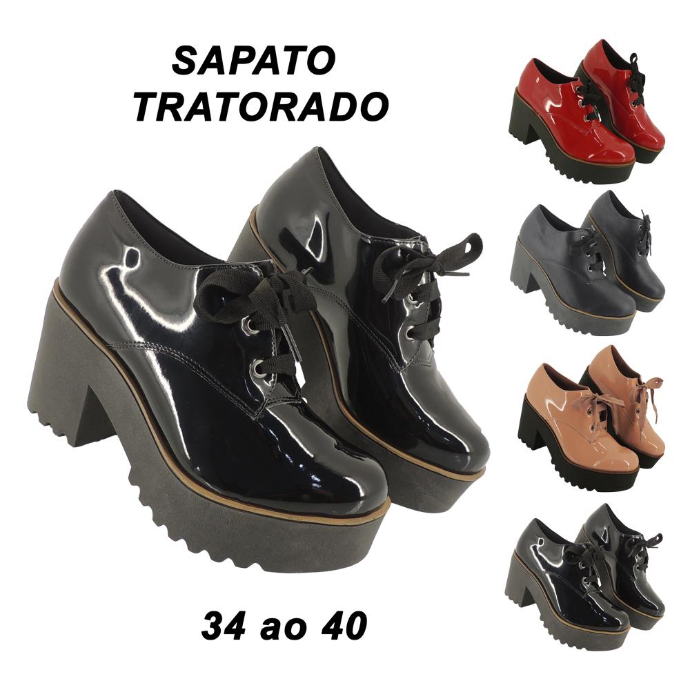 Sapato Feminino Tratorado Oxford Conforto Plataforma Salto Grosso Meia Pata LB701