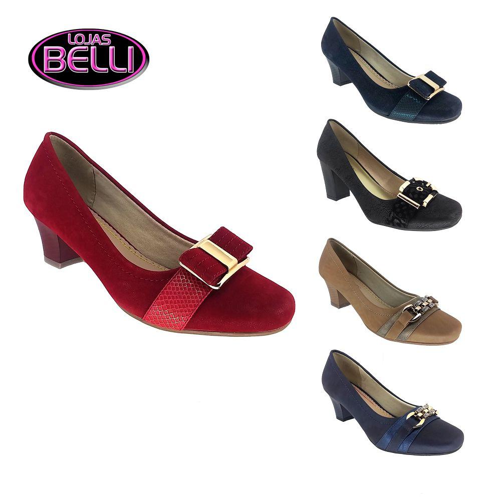 33c097a462 Sapato Scarpin Feminino com Salto Confortável Mooncity Red Lojas Belli