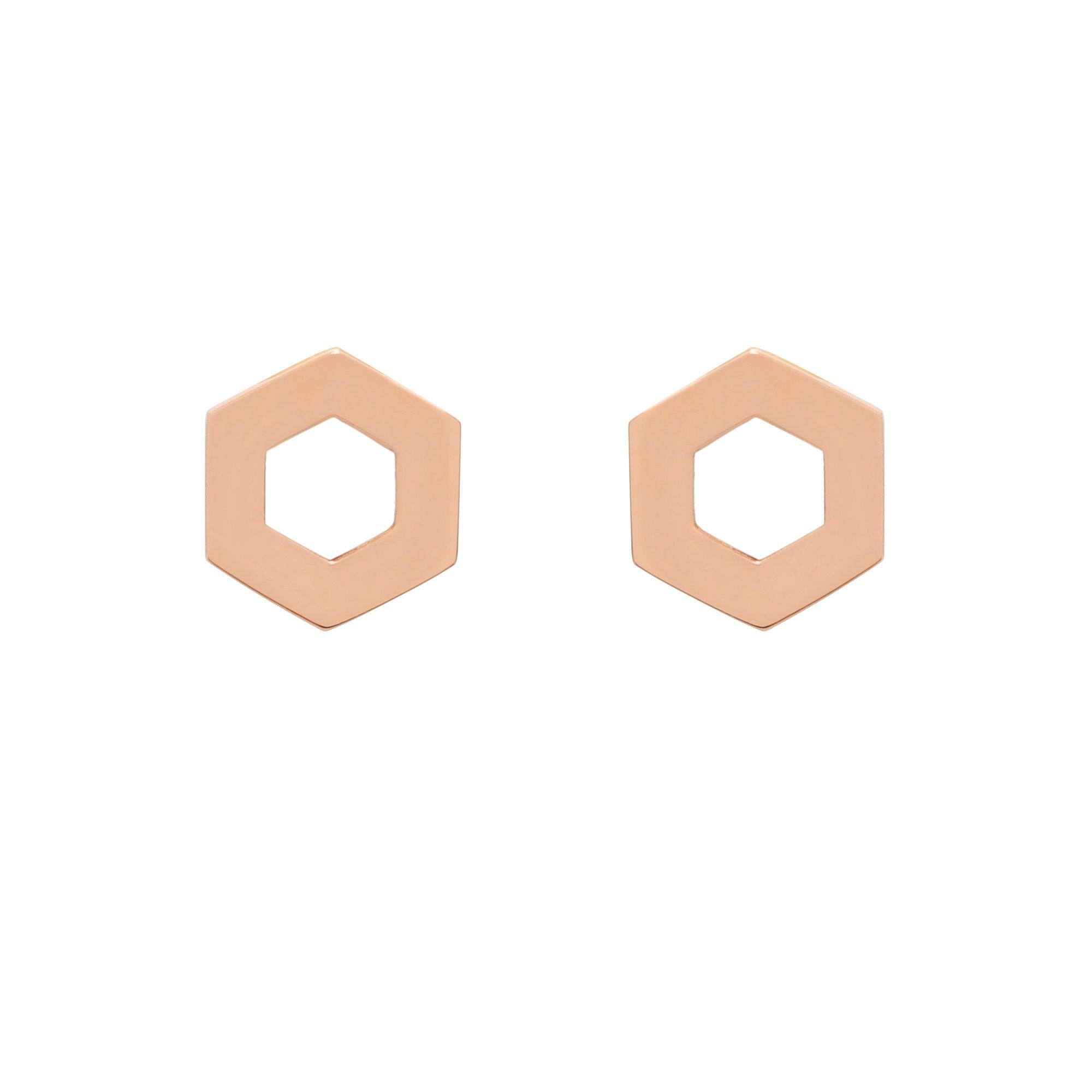 Brinco de Ouro Rose Hexa