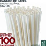 Canudos de Papel Biodegradável - Branco - 100 unidades