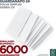 Guardanapo 24 - Folha Simples - Dobra 1/8 - 24x22cm - 6000 Unidades - Scala Papéis