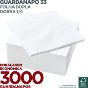 Guardanapo 33 - Folha Dupla - Dobra 1/4 - 33x33cm - 3000 Unidades - Scala Papéis