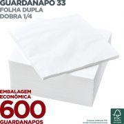 Guardanapo 33 - Folha Dupla - Dobra 1/4 - 33x33cm - 600 Unidades - Scala Papéis