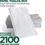 Papel Toalha Eco - Papel Reciclado Interfolhado - Folha Simples - 2100 Toalhas - Scala Papéis