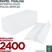 Papel Toalha Interfolha - Folha Simples - 2400 Toalhas - Scala Papéis