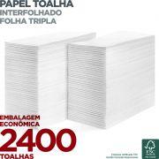 Papel Toalha Interfolha - Folha Tripla - 2400 Toalhas - Scala Papéis