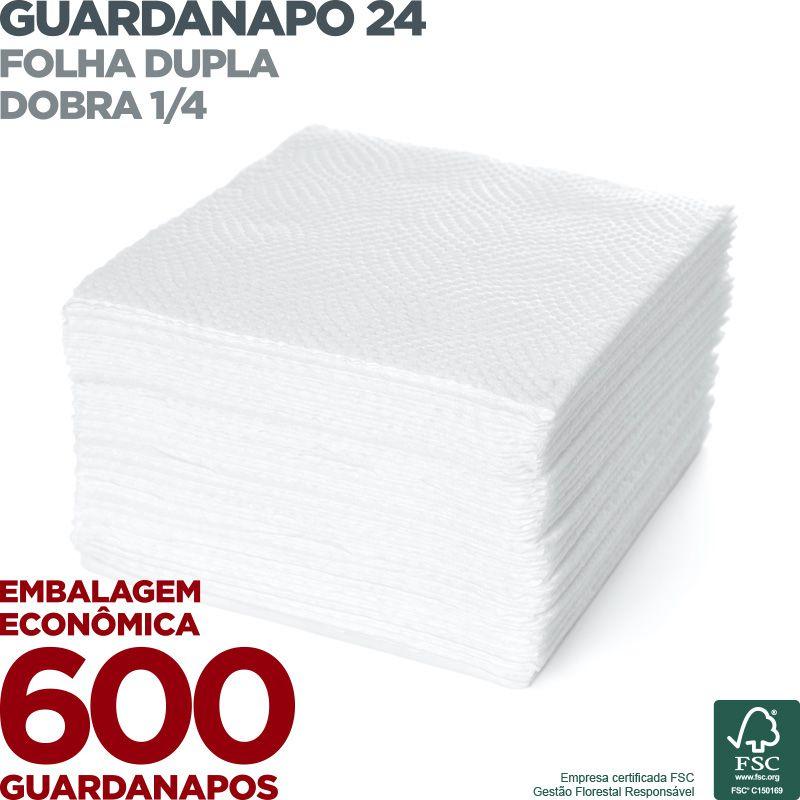 Guardanapo 24 - Folha Dupla - Dobra 1/4 - 24x22cm - 600 Unidades  - Scalashop