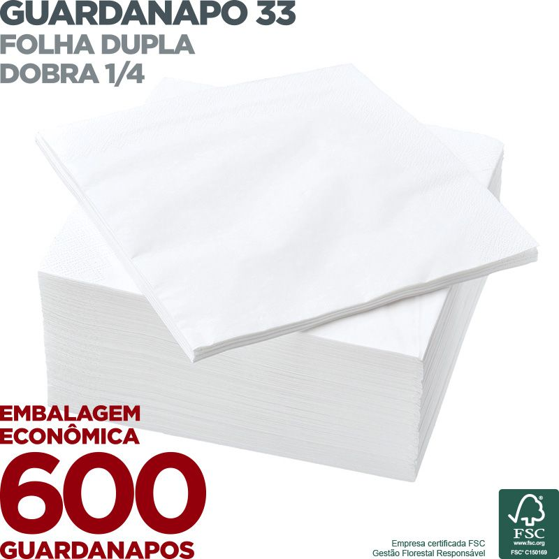 Guardanapo 33 - Folha Dupla - Dobra 1/4 - 33x33cm - 600 Unidades  - Scalashop