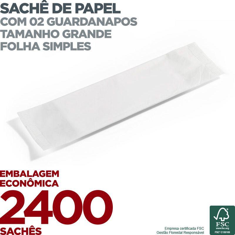 Guardanapo em Sachê de Papel - 2 Guardanapos - Folha Simples - 30x19cm - 2400 Sachês - Scala Papéis  - Scalashop