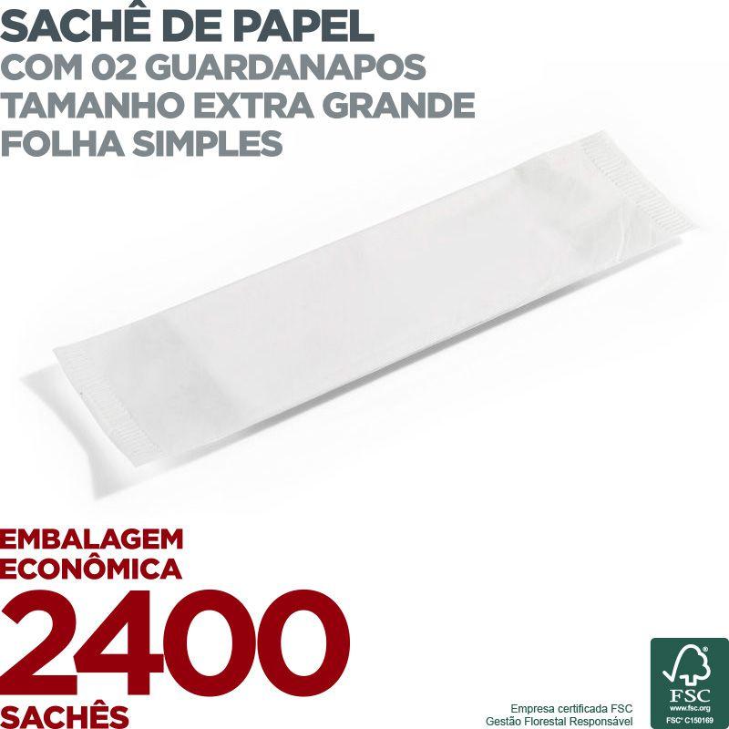 Guardanapo em Sachê de Papel Extra - 2 Guardanapos - Folha Simples - 40x14cm - 2400 Sachês - Scala Papéis  - Scalashop
