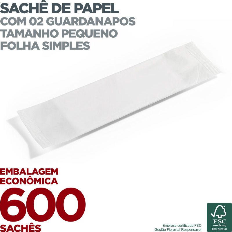 Guardanapo em Sachê de Papel Pequeno - 2 Guardanapos - Folha Simples - 22x19cm - 600 Sachês - Scala Papéis  - Scalashop