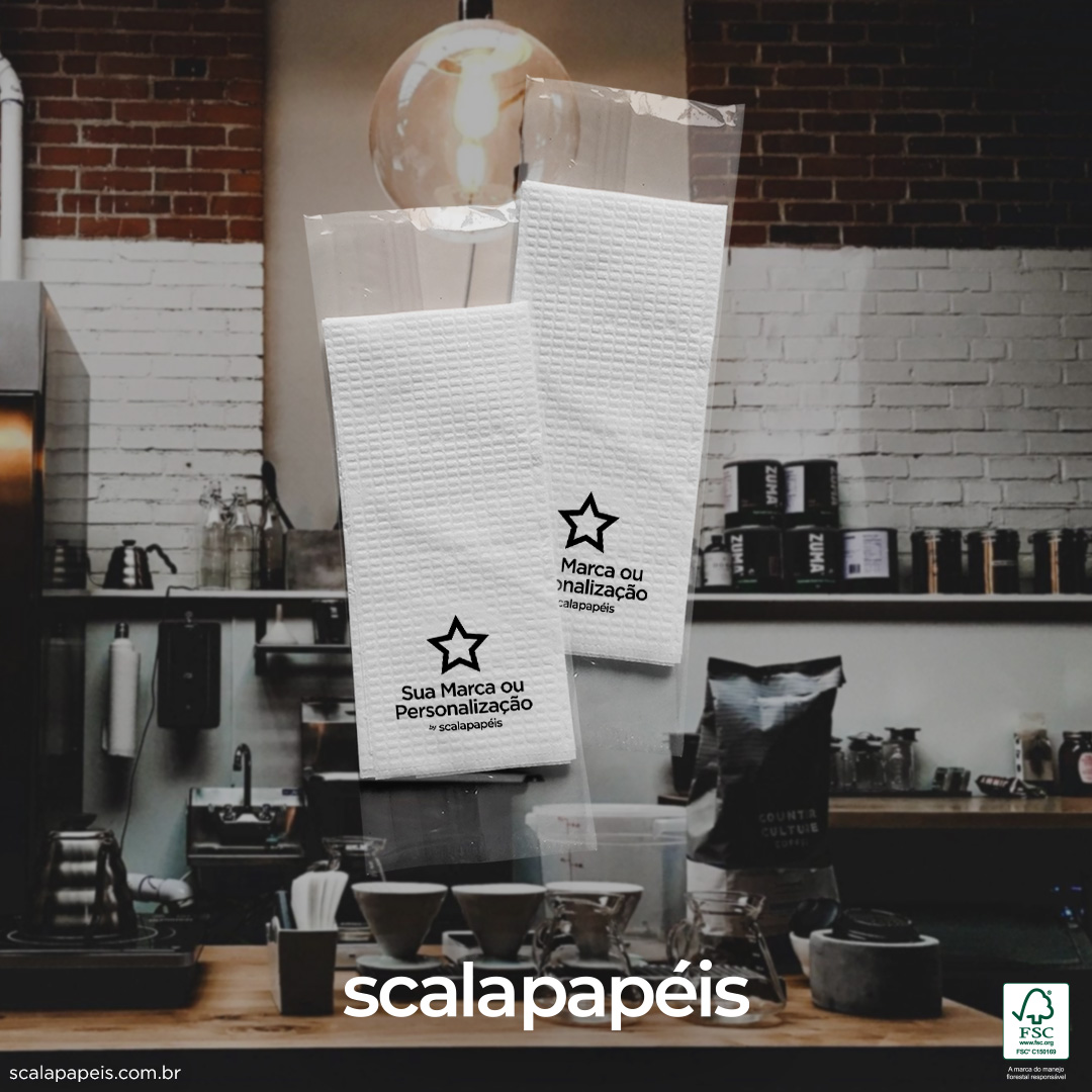Guardanapos Personalizados Sachê BOPP - Sachê BOPP com 2 Guardanapos Pequenos - Folha Simples - 500 Sachês  - Scalashop