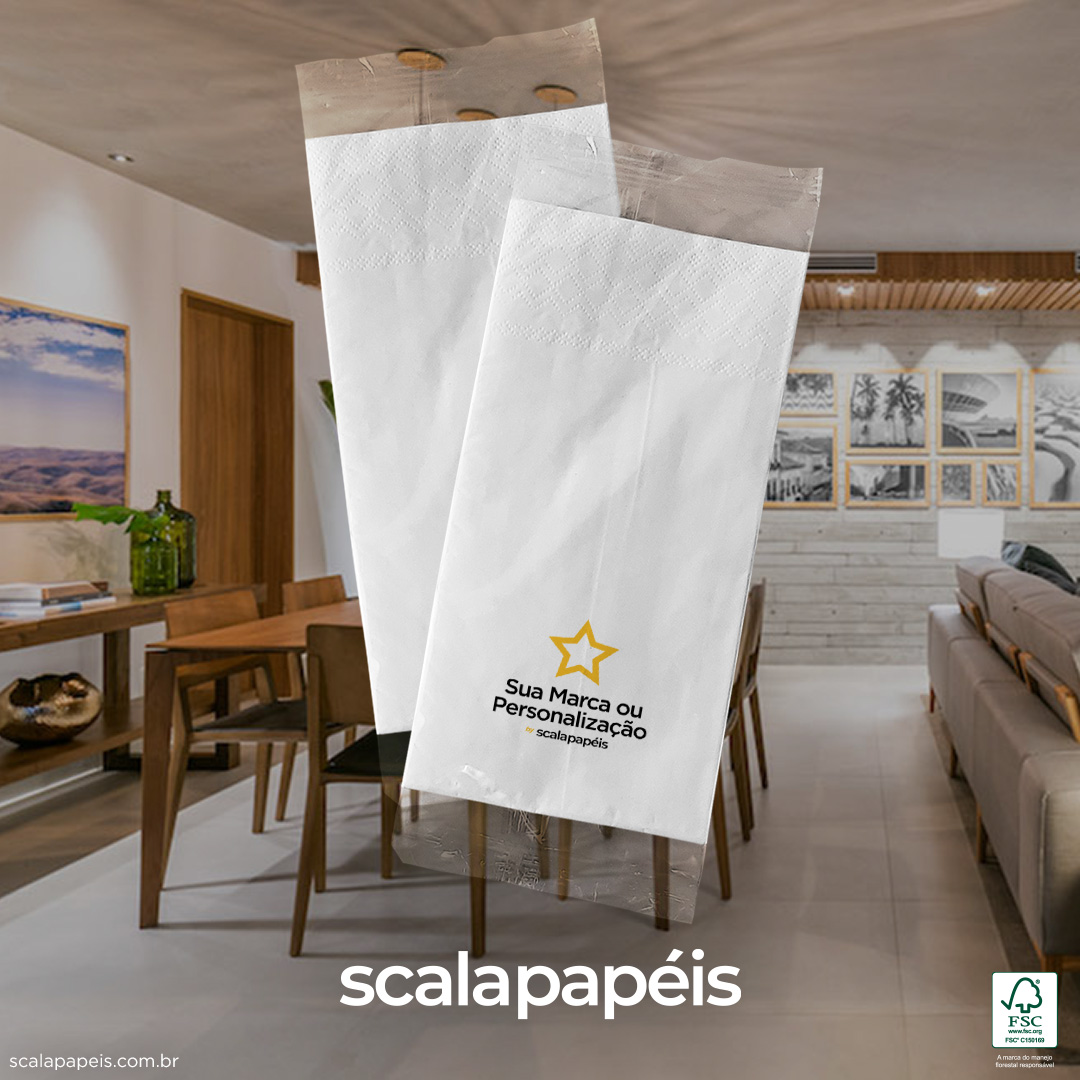 Guardanapos Sachê 40 Personalizados - Sachê BOPP com Guardanapo 40 - Folha Dupla - 600 Sachês  - Scalashop