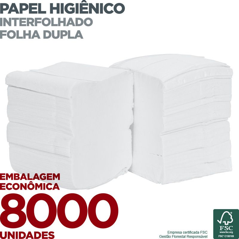 Papel Higiênico Interfolha Folha Dupla - 8000 unidades - Scala Papéis  - Scalashop