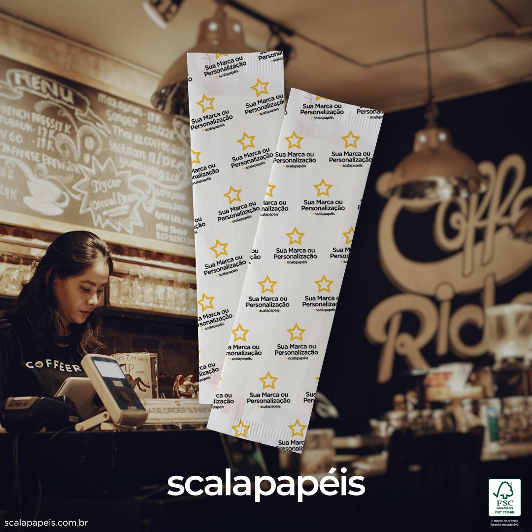 Sachê Personalizado de Papel com 2 Guardanapos Grandes - Folha Simples - 600 Sachês  - Scalashop
