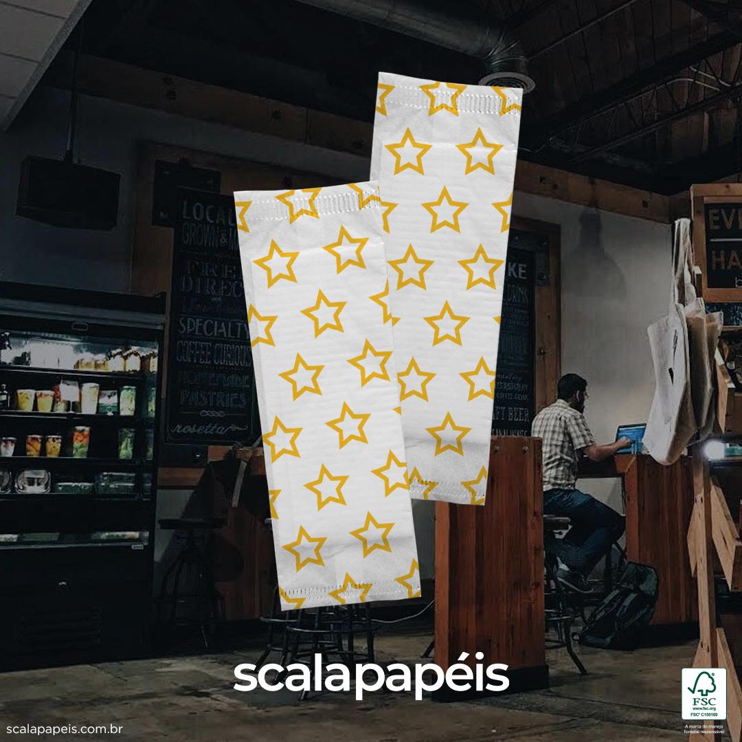 Sachê Personalizado de Papel com 2 Guardanapos Pequenos - Folha Simples - 600 Sachês  - Scalashop
