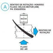 Hélice para Exaustor Diam. 370mm c/8 Pás em Nylon Preto 45°