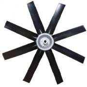Hélice P/Exaustor Axial Diam.  400 mm c/8 Pás em Nylon Preto 45° c/Nucleo em Aluminio