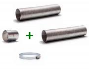 Kit 2 Duto Alum. Semi-flexivel 150mm C/3m + 2 Luva + 6 Abraç