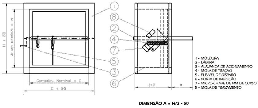 Damper Corta Fogo em Chapa Galvanizada + SOLENOIDE  - Nova Exaustores