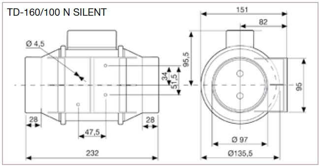 Exaustor p/Banheiro Helicocentrifugo InLine Mod: TD160/100N Silent S&P  - Nova Exaustores