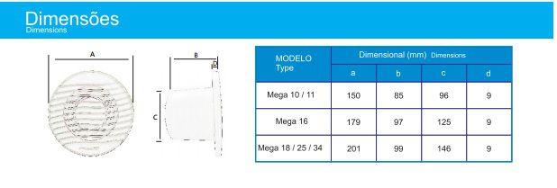 Exaustor para Banheiro Mega-34 Bivolt  - Nova Exaustores