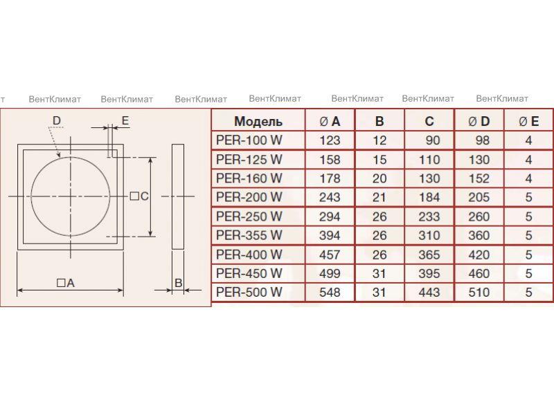 Grelha Auto-Fechante c/Bocal 250mm Mod: PER-250 W  - Nova Exaustores