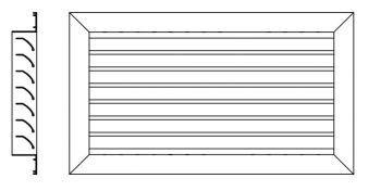 Grelha de Retorno Fixa Alum. Anod. Fosco - 400 x 200mm c/20  - Nova Exaustores