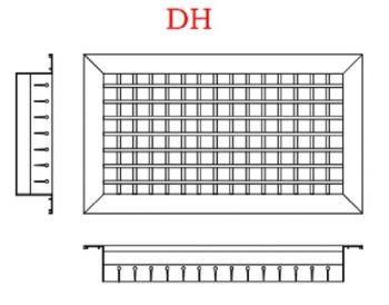 Grelha Dupla Deflexão c/Registro em Aluminio Anod. Fosco  - Nova Exaustores