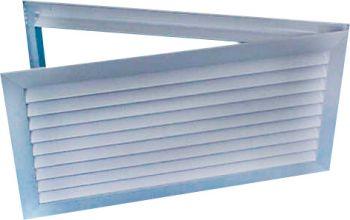 Grelha para Porta c/Dupla Moldura Indev. em Aluminio Anod. Fosco  - Nova Exaustores