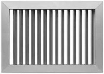 Grelha Simples Deflexão c/Registro em Aluminio Anod. Fosco  - Nova Exaustores