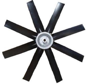 Hélice P/Exaustor Axial Diam.  400 mm c/8 Pás em Nylon Preto 35° c/Nucleo em Aluminio  - Nova Exaustores
