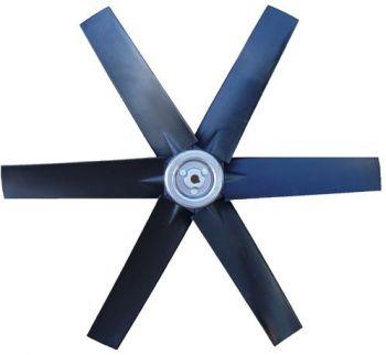 Hélice P/Exaustor Axial Diam.  530 mm c/6 Pás em Nylon Preto 45° c/Nucleo em Aluminio  - Nova Exaustores