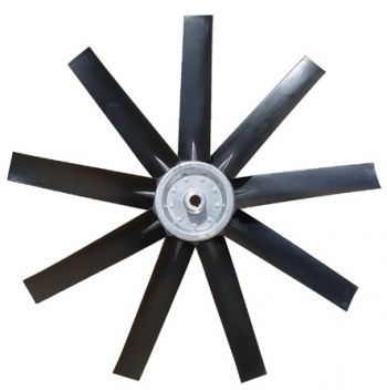 Hélice P/Exaustor Axial Diam.  570 mm c/9 Pás em Nylon Preto 45° c/Nucleo em Aluminio  - Nova Exaustores