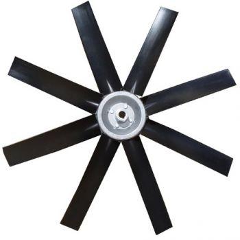 Hélice P/Exaustor Axial Diam.  670 mm c/8 Pás em Nylon Preto 30° c/Nucleo em Aluminio  - Nova Exaustores