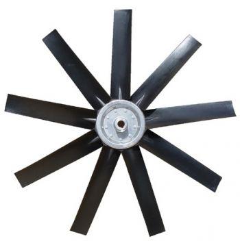Hélice P/Exaustor Axial Diam.  700 mm c/9 Pás em Nylon Preto 45° c/Nucleo em Aluminio  - Nova Exaustores