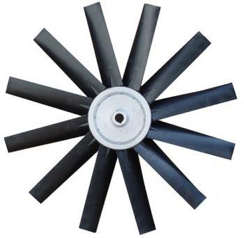 Hélice P/Exaustor Axial Diam.  970 mm c/12 Pás em Nylon Preto 40° c/Nucleo em Aluminio  - Nova Exaustores