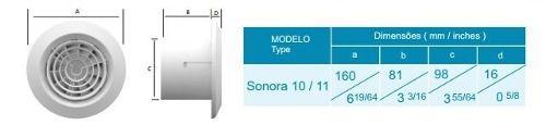 Kit Exaustor P/banheiro Sonora-11 Bivolt + 1m Duto + Grelha  - Nova Exaustores