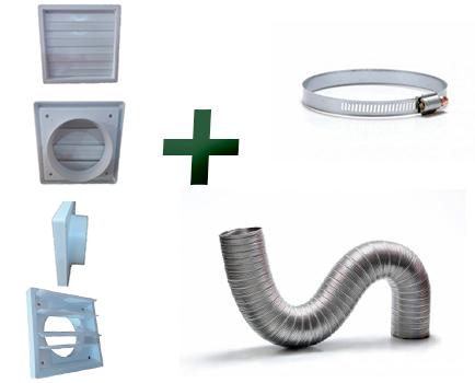 Kit p/instalação Coifa Auto-fechante 150mm + Duto Semi 10m  - Nova Exaustores