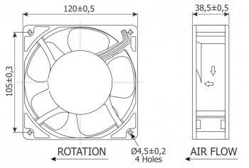 Microventilador (Cooler) 120 x 120 x 38 mm - 12VDC - 3pçs  - Nova Exaustores
