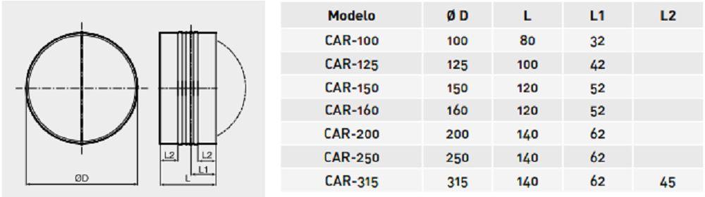Valvula Anti-Retorno Metálica Mod: CAR  - Nova Exaustores