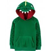 Blusa em Fleece Verde Dinossauro com Capuz