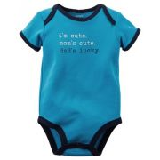 Body Infantil Carters Masculino Azul Dad's Lucky