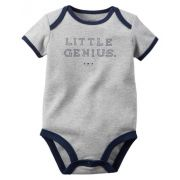 Body Infantil Carters Masculino Cinza Little Genius