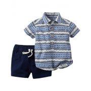 Calção de Banho Infantil Azul com Camisa Estampada