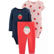 Conjunto Body Carters 3 pçs Moranguinho