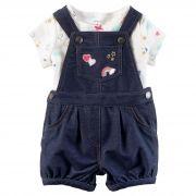 Conjunto Carters 2 peças Jardineira Jeans e Camiseta Estrelas Branca