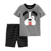 Conjunto Carters 2 peças Shorts Listrado Preto e Camiseta Cinza Cachorrinho